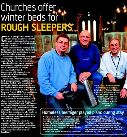 Churches offer winter beds for rough sleepers